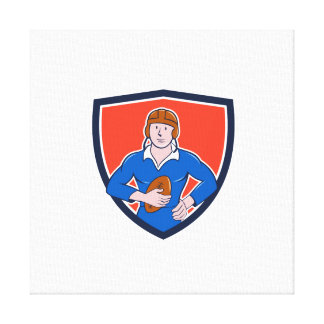 Vintage French Rugby Player Holding Ball Crest Car Gallery Wrapped Canvas