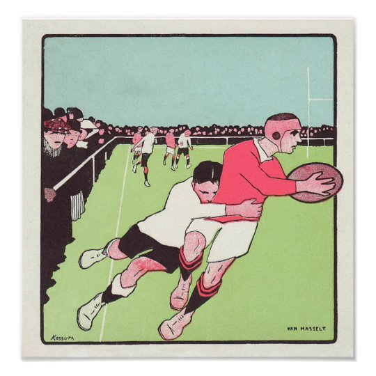 Vintage French Rugby - Poster