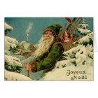 Vintage French Santa Christmas Greeting Card
