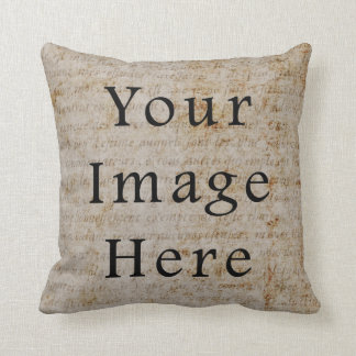 Vintage French Script Parchment Paper Background Throw Pillow