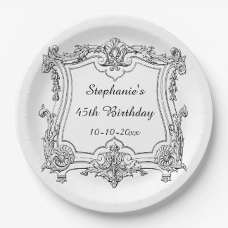 Vintage French Scroll 45th Birthday 9 Inch Paper Plate