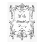 Vintage French Scroll 80th Birthday Double Sided