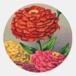 Vintage French Seed Package Zinnia Zinnas Round Sticker