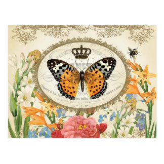 Vintage French Shabby Chic  Buttefly postcard