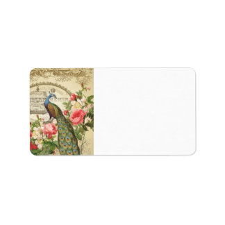Vintage French Shabby Chic Peacock Address Label