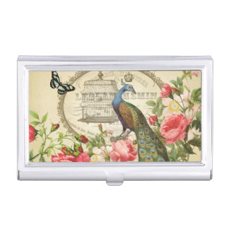 Vintage French Shabby Chic Peacock Business Card Holder