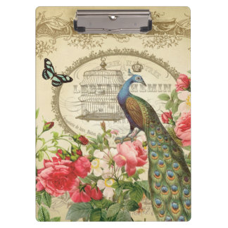 Vintage French Shabby Chic Peacock Clipboard