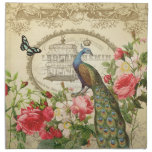 Vintage French Shabby Chic Peacock Cloth Napkin