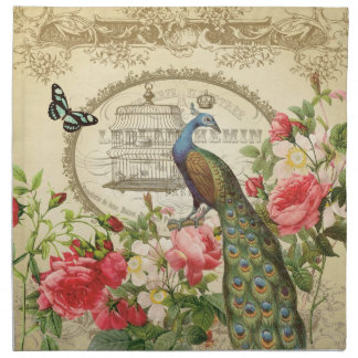 Vintage French Shabby Chic Peacock Napkin
