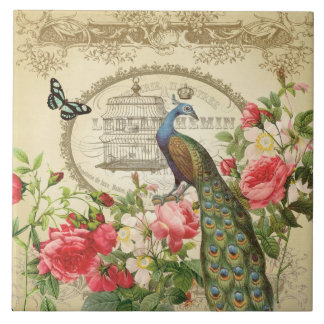 Vintage French Shabby Chic Peacock Tile