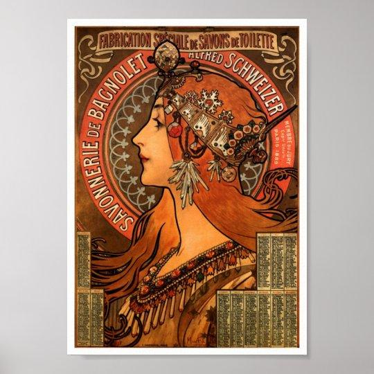 Vintage French soap Ad Art Nouveau Poster Print