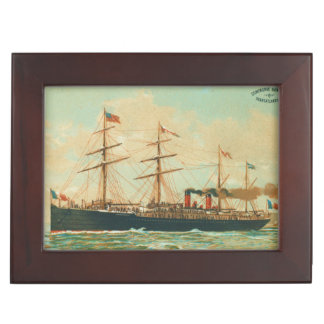 Vintage French Steamships Keepsake Box