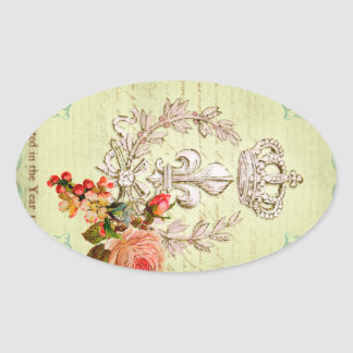Vintage French Oval Stickers