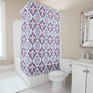 Vintage French Style Fleur De Lis Pattern Shower Curtain