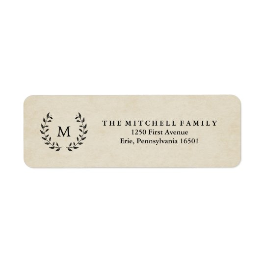 Vintage French Style Wreath and Monogram Return Address Label