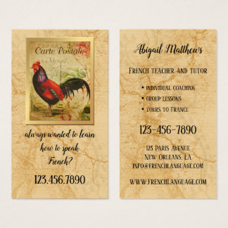 Vintage French Teacher and Tutor Business Card