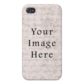 Vintage French Text Parchment Paper Background iPhone 4 Cover