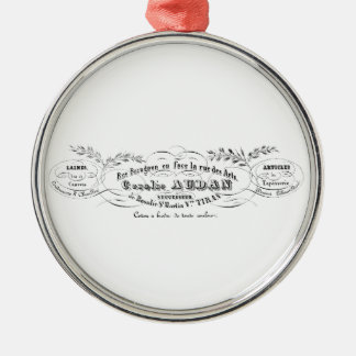 vintage french typography advertisement christmas ornament
