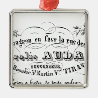 vintage french typography advertisement Silver-Colored square decoration