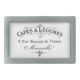 vintage french typography cafes et legumes belt buckle