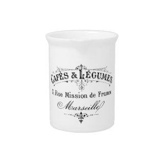 vintage french typography cafes et legumes beverage pitchers