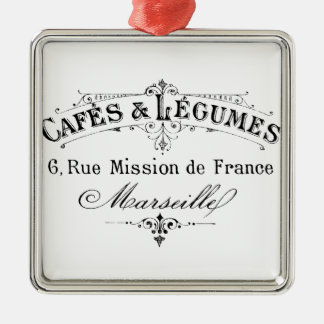 vintage french typography cafes et legumes christmas ornament