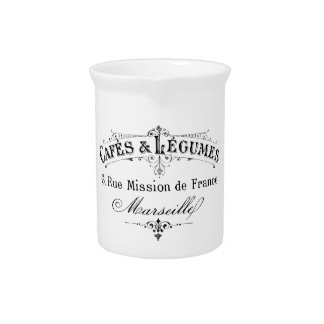 vintage french typography cafes et legumes pitcher