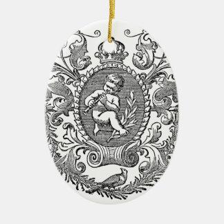 Vintage french typography cherub design ceramic oval decoration