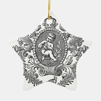 Vintage french typography cherub design ceramic star decoration