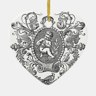 Vintage french typography cherub design christmas ornament