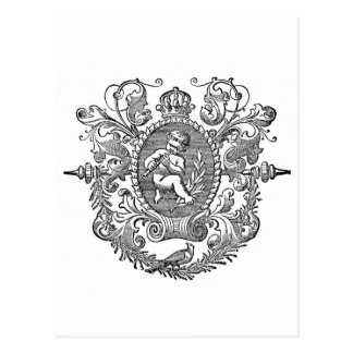 Vintage french typography cherub design postcard