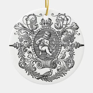 Vintage french typography cherub design round ceramic decoration