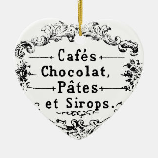 Vintage french  typography chocolate design christmas ornament