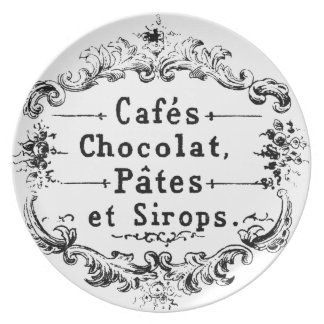 Vintage french  typography chocolate design dinner plates