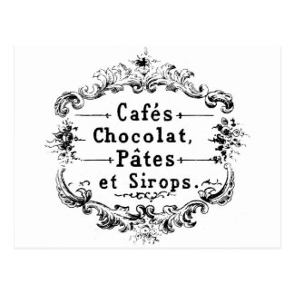 Vintage french  typography chocolate design postcard