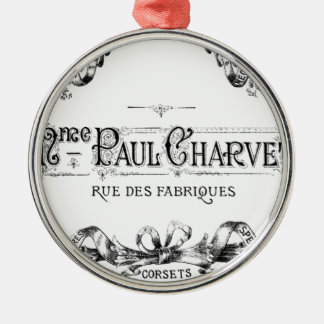 Vintage french typography corset advertisement christmas ornament