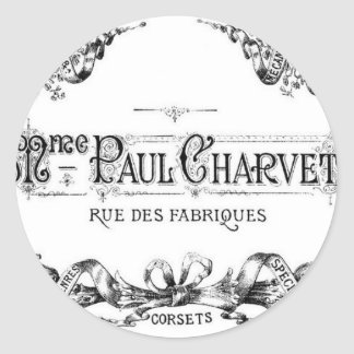 Vintage french typography corset advertisement classic round sticker