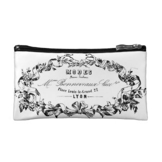 vintage french typography cosmetic bag