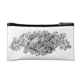 vintage french typography cosmetic bag lovebirds
