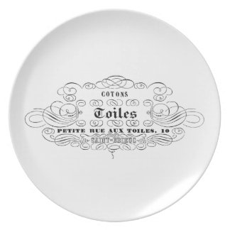 vintage french typography cotton toiles dinner plate