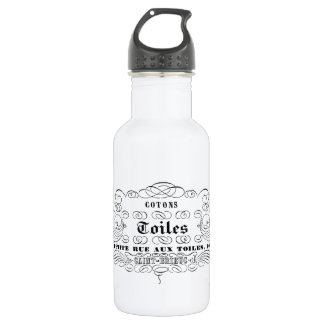 vintage french typography cotton toiles 532 ml water bottle