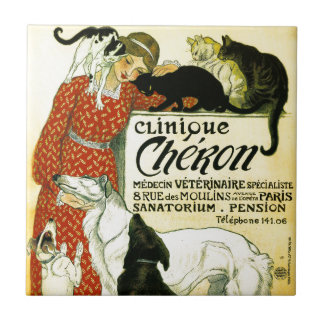 Vintage French veterinary Cat dog Clinique Chéron Small Square Tile