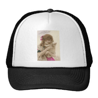 Vintage French Victorian Woman & White Dog Cap