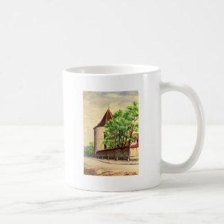 VIntage French watercolour, A corner of a vinyard Basic White Mug
