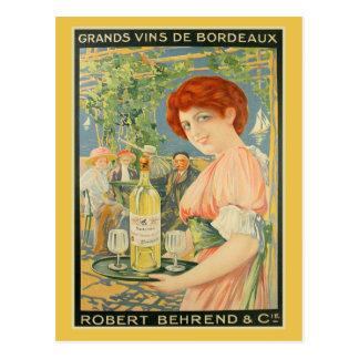 Vintage French white bordeaux wine advertising Postcard