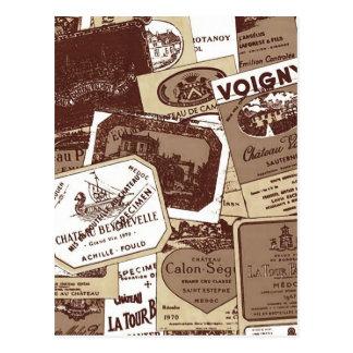 Vintage French Wine Labels Wallpaper Postcard