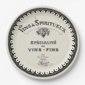 Vintage French Wine Typography On Beige 9 Inch Paper Plate