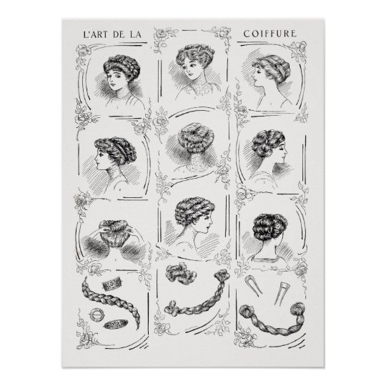 Vintage French Women's Hair Styles Poster