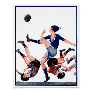Vintage French Women's Rugby - Poster