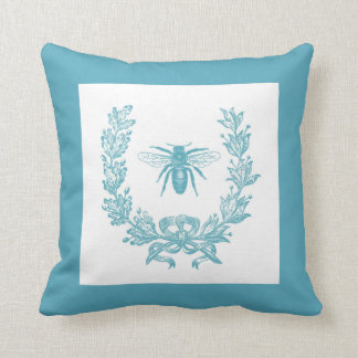"""Vintage French Wreath w/ Bee 20 x 20"""" Pillow Teal Cushion"""